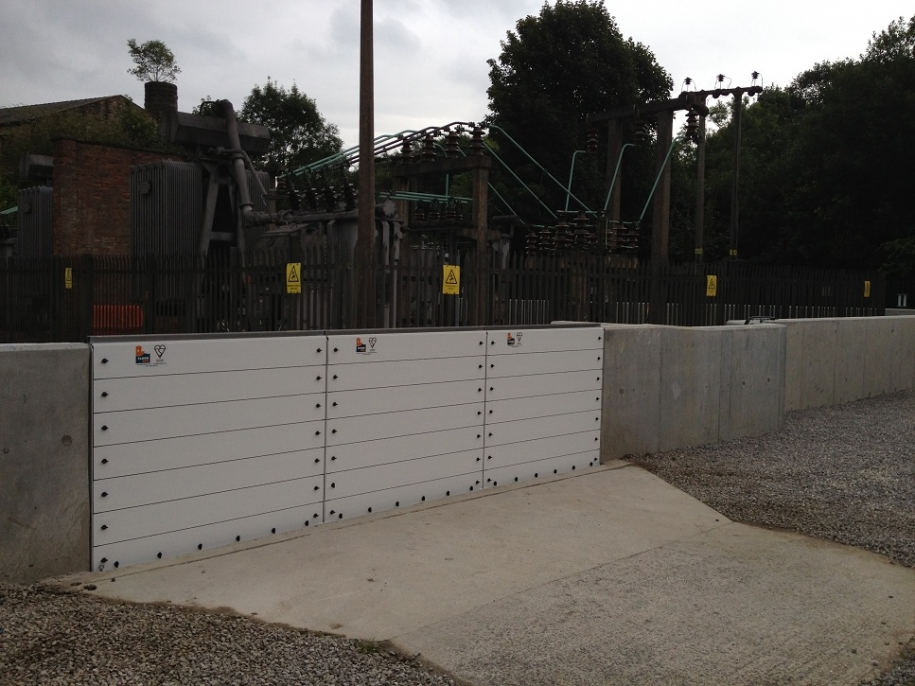 electricity substation protected by barriers