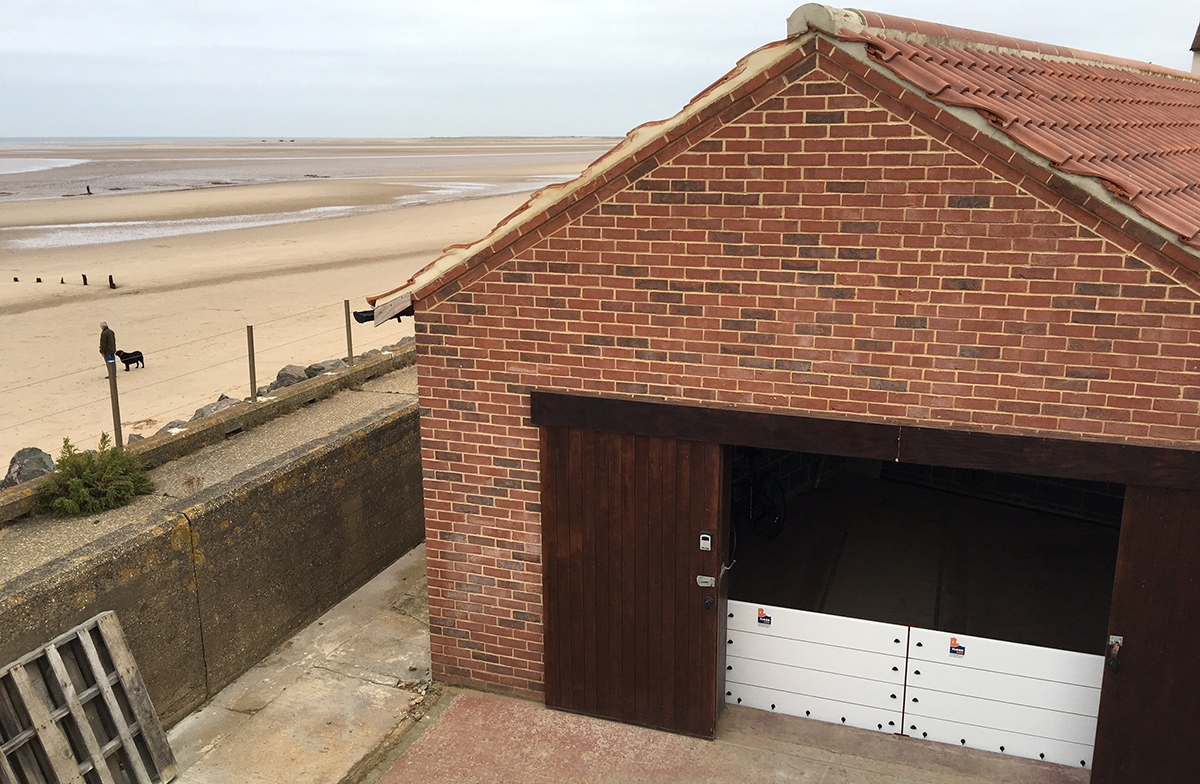 View of installation and Brancaster beach