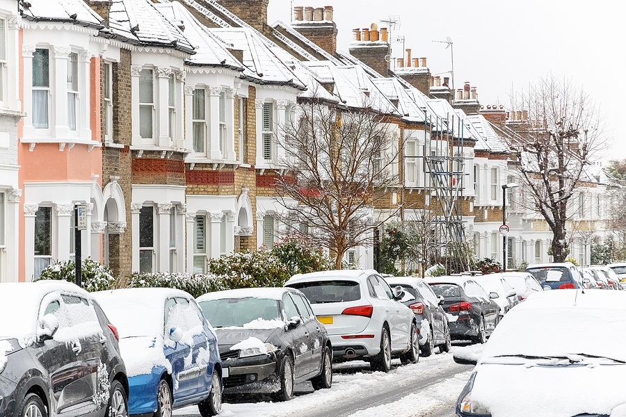 terraced houses covered in snow
