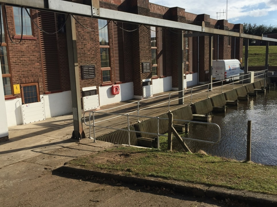Tydd pumping station flood barriers up