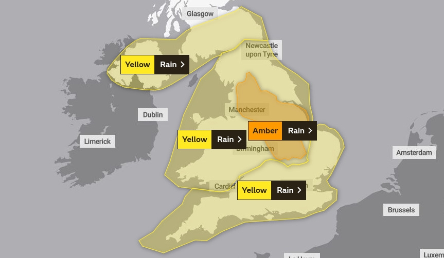 amber weather warning UK